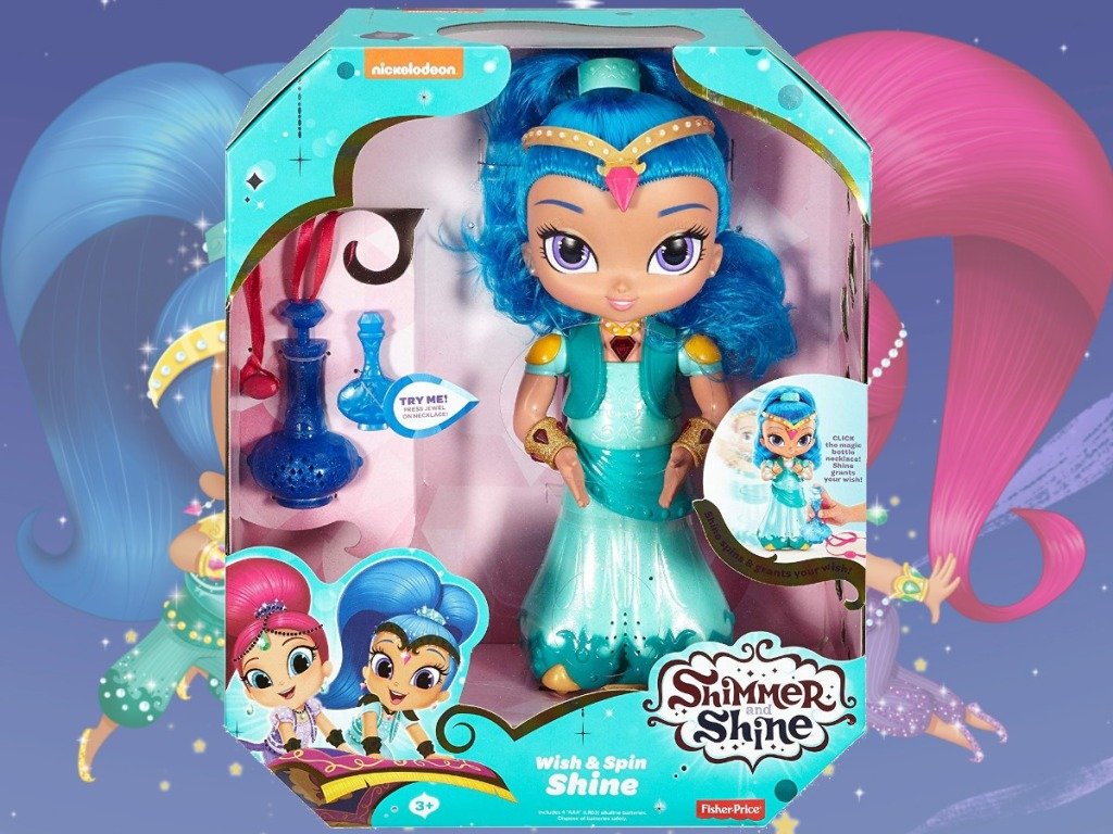 Shimmer & Shine Doll in package near Shimmer and Shine show scene