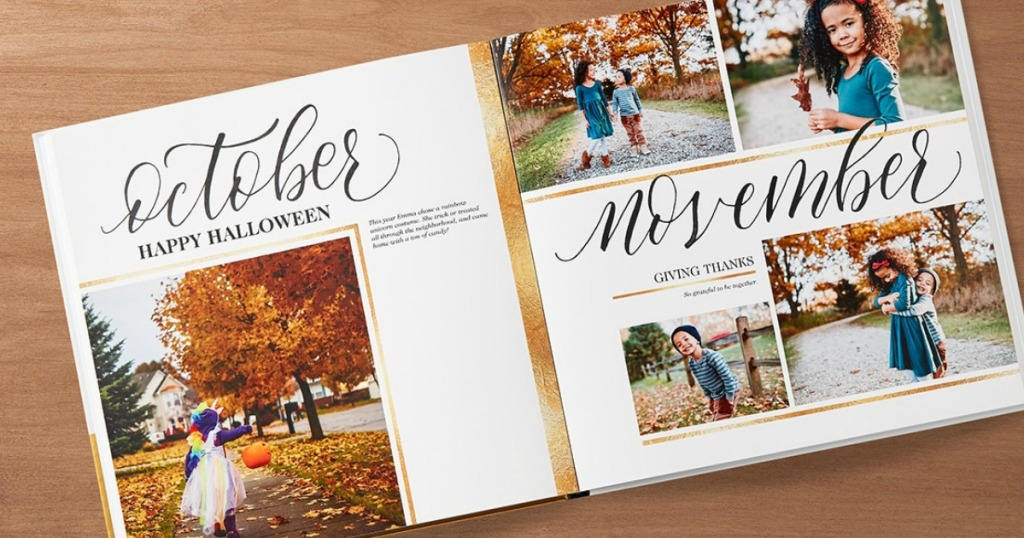 shutterfly photo book with october and november written