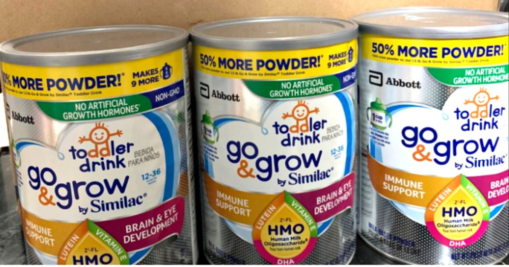 3 canisters of similac go & grow formula