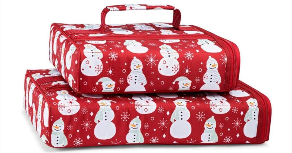 Snowman Insulated Casserole Carrier Set