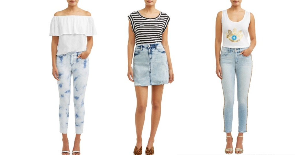 women wearing denim ejeans and skirt and casual tops