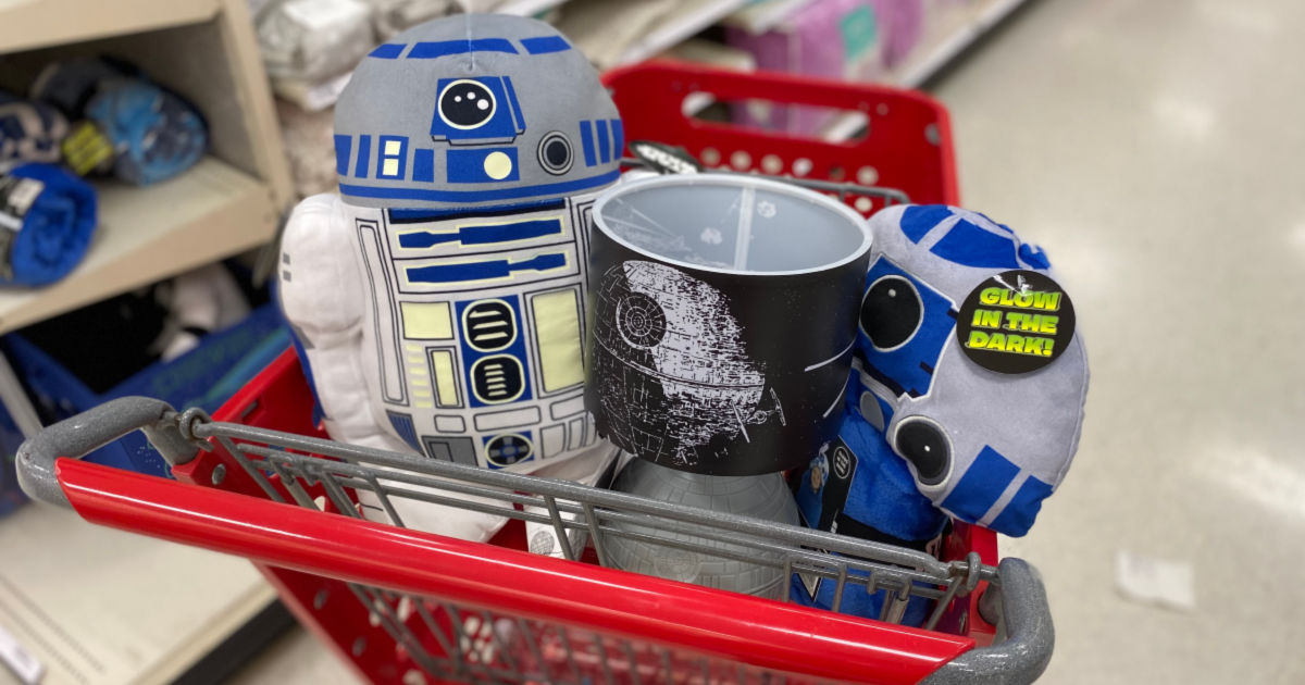 Star Wars Target Home Decor pillows and lamps in target cart