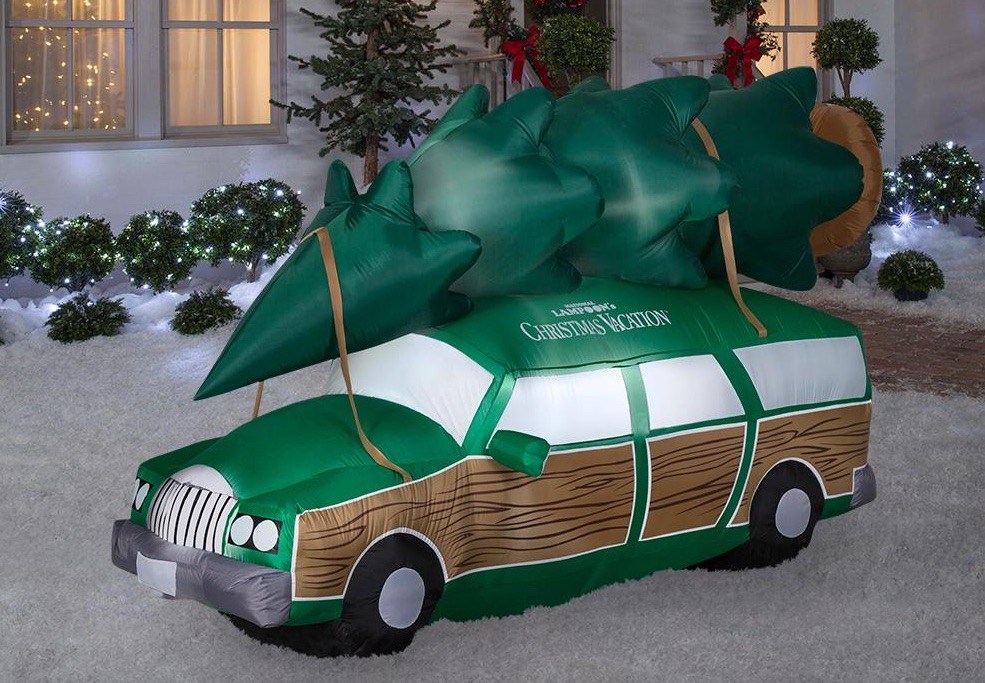 Inflatable National Lampoons Christmas Vacation Station Wagon in yard