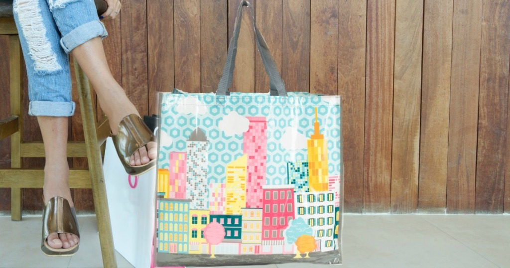 Reusable tote with city scene from TJMaxx