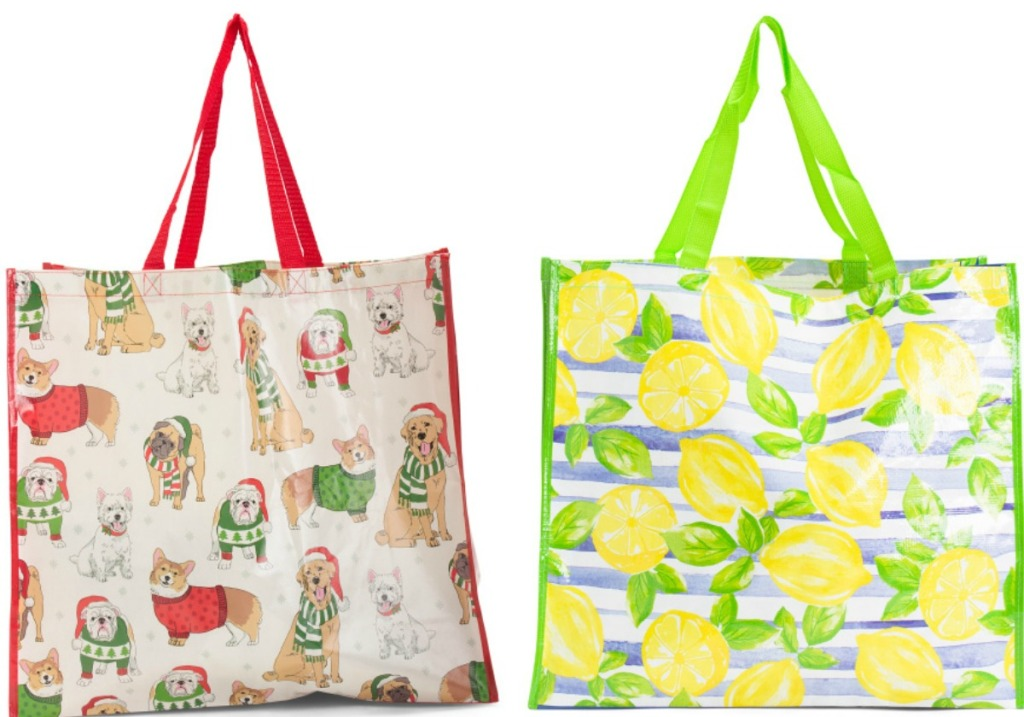 Two styles of TJMaxx reusable bags