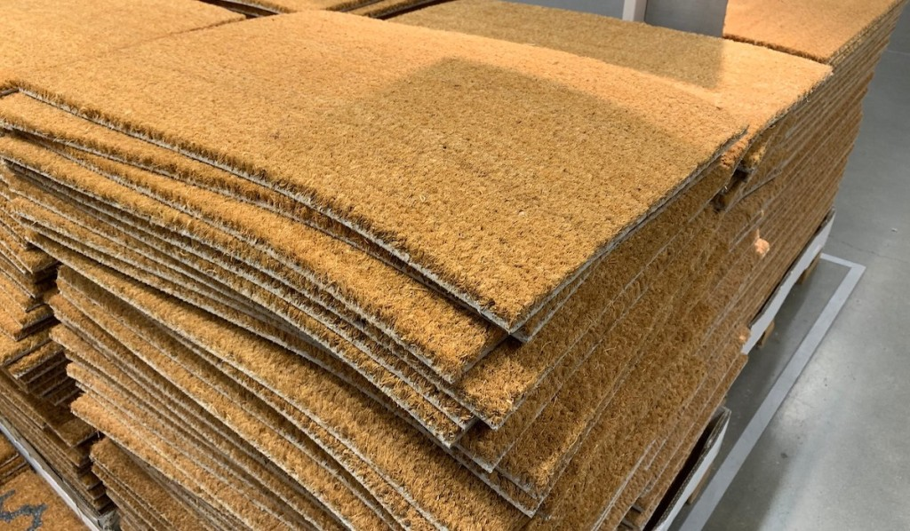 stack of brown mats on IKEA pallet