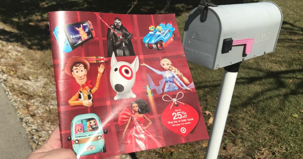 Target 2019 Toy Catalog next to mailbox