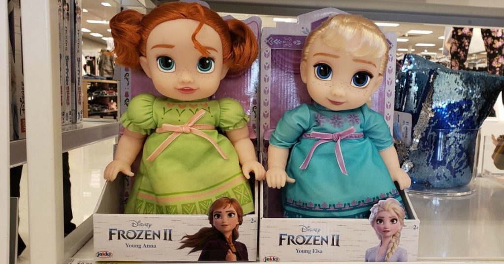 Target Frozen II Dolls on display in package at store