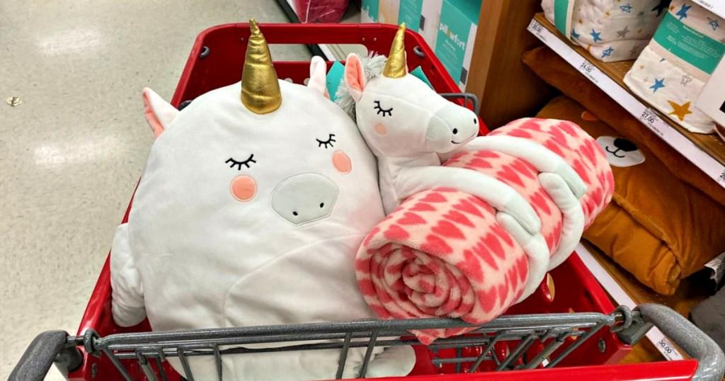 Target Kids Unicorn Blanket Set and Pillow in Target Shopping Cart