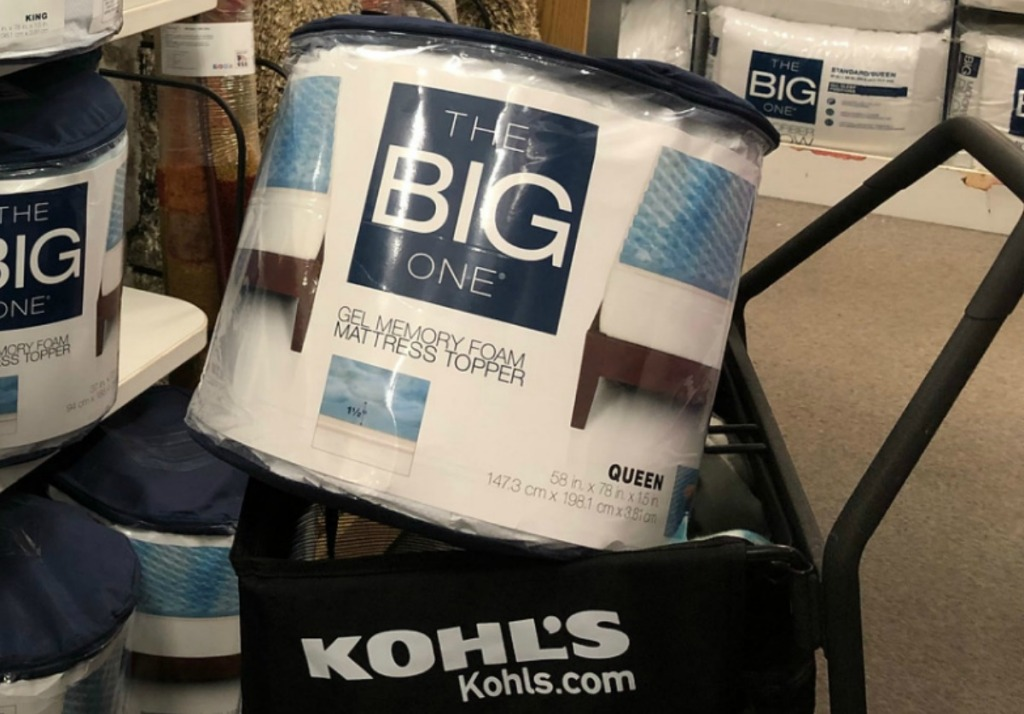Kohl's shopping cart with a gel mattress topper in package inside