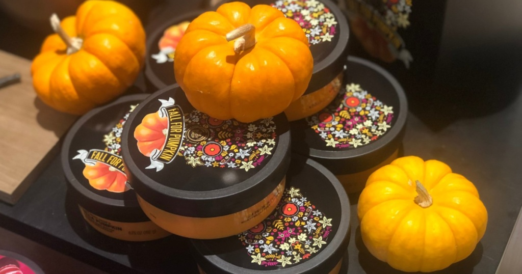 The Body Shop Half for Pumpkin Body Butters on shelf in store