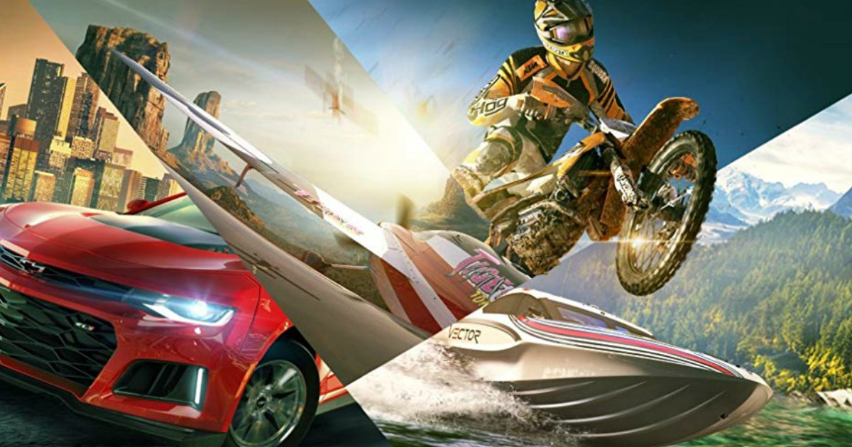 graphics with a motorcycle, boat and car