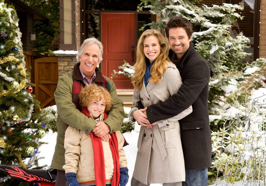 people standing outside in the snow hallmark movie