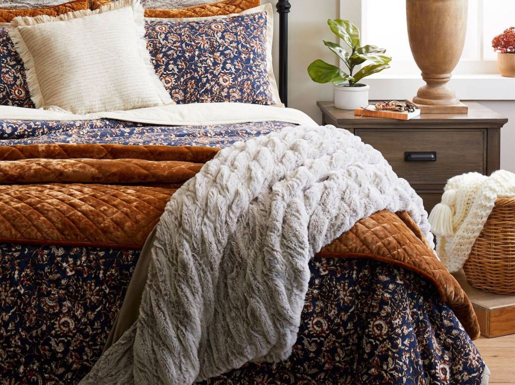 Threshold 55x80 Solid Faux Fur Bed Throw