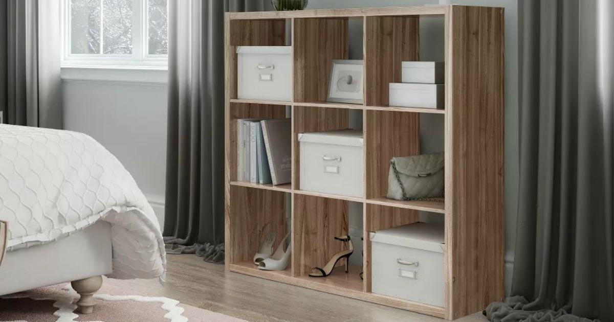 Threshold 9-Cube Organizer Shelf in bedroom