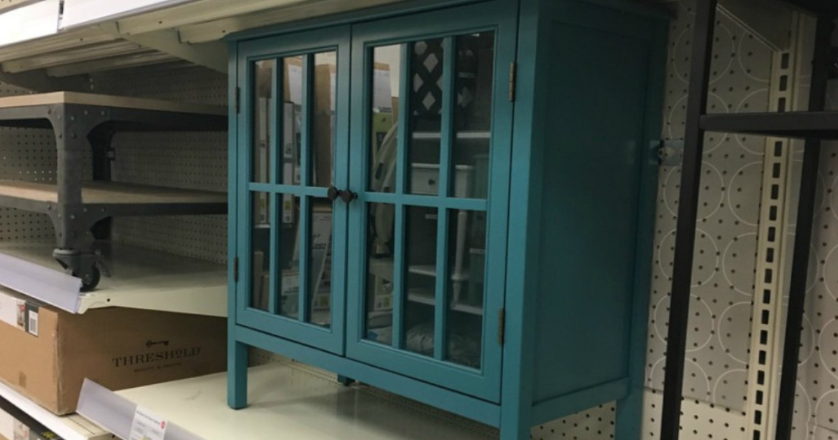 teal cabinet on store shelf