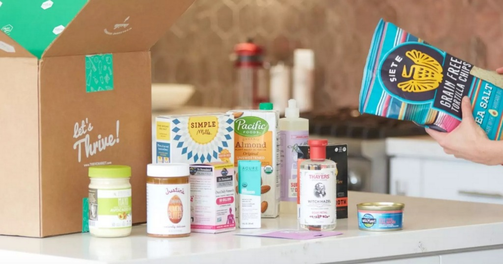 Thrive Market box filld with healthy products