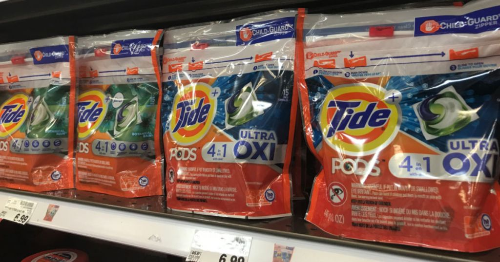 Tide Pods on shelf in Kroger with price