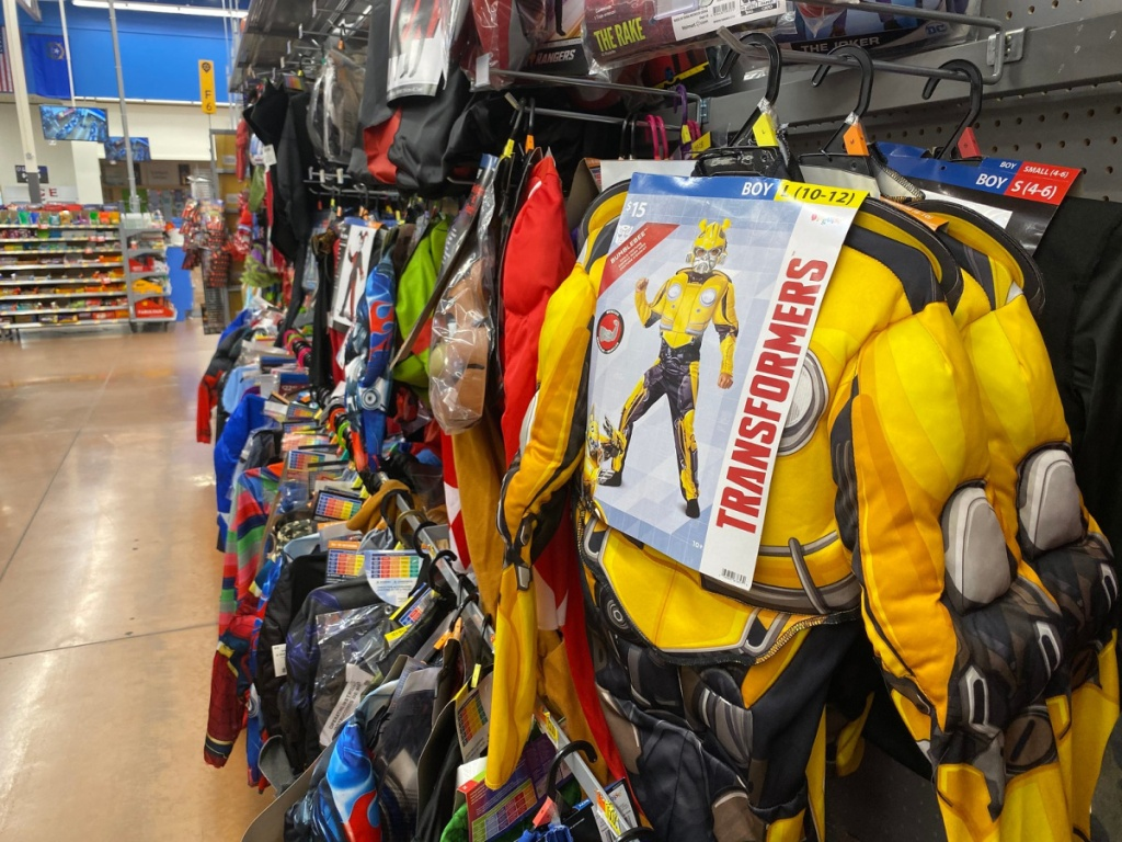 transformers bumblebee costume hanging in store