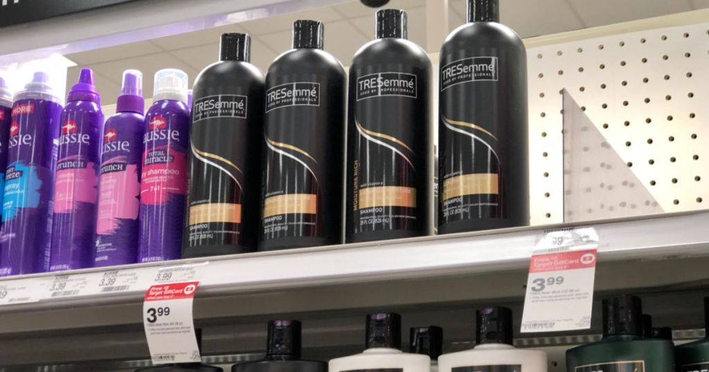 bottles of tresemme on shelf at target