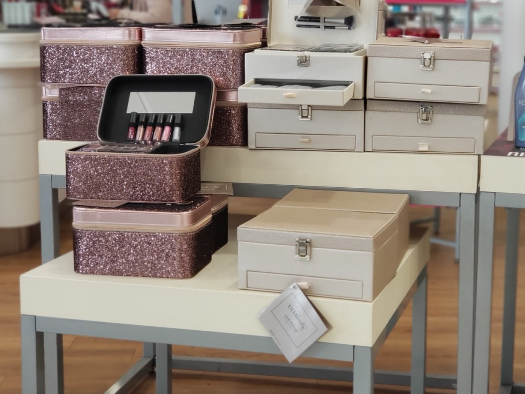 ulta love makeup collection and sparkle collection on display in store