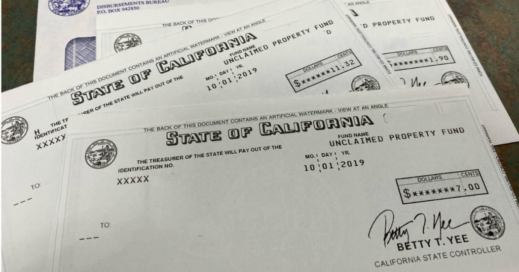 State of California Unclaimed Property Fund Checks
