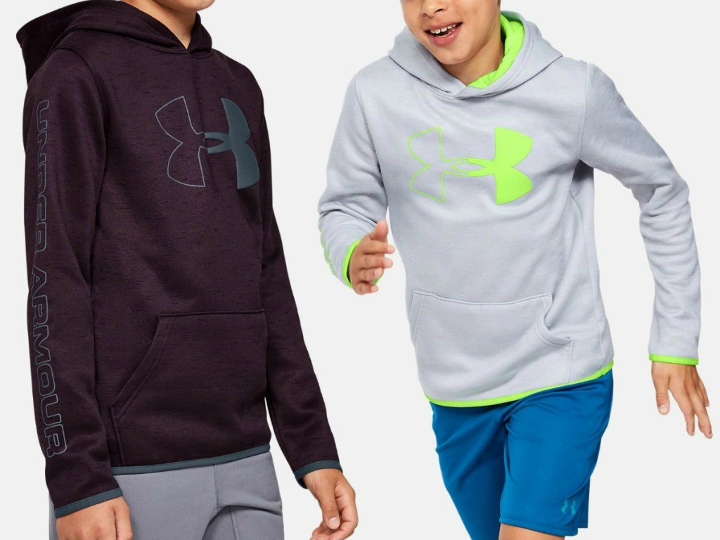 Under Armour Boys Fleece Branded hoodies in two colors
