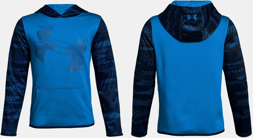 Blue Under Armour Boys Fleece Hoodie front and back view