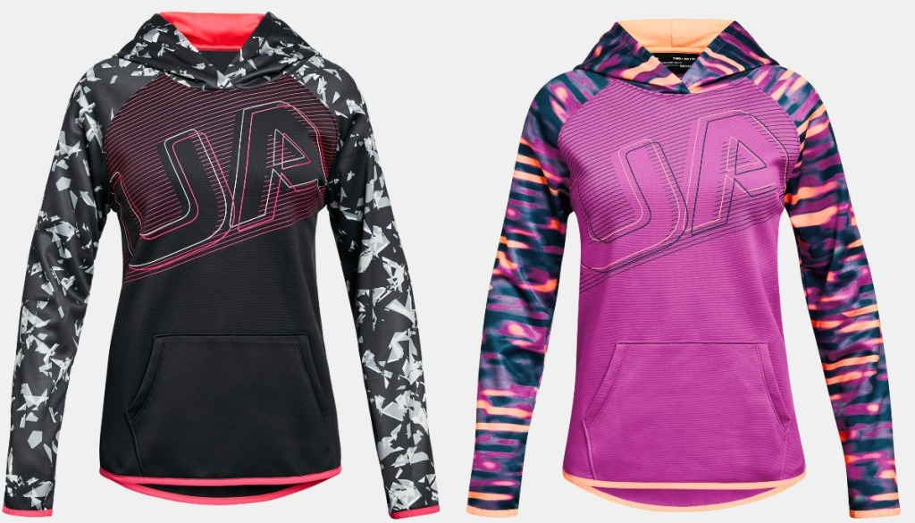 Two styles of Under Armour Girls Hoodies