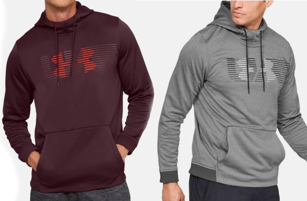 Men wearing Under Armour Men's Fleece Spectrum Hoodie in two colors