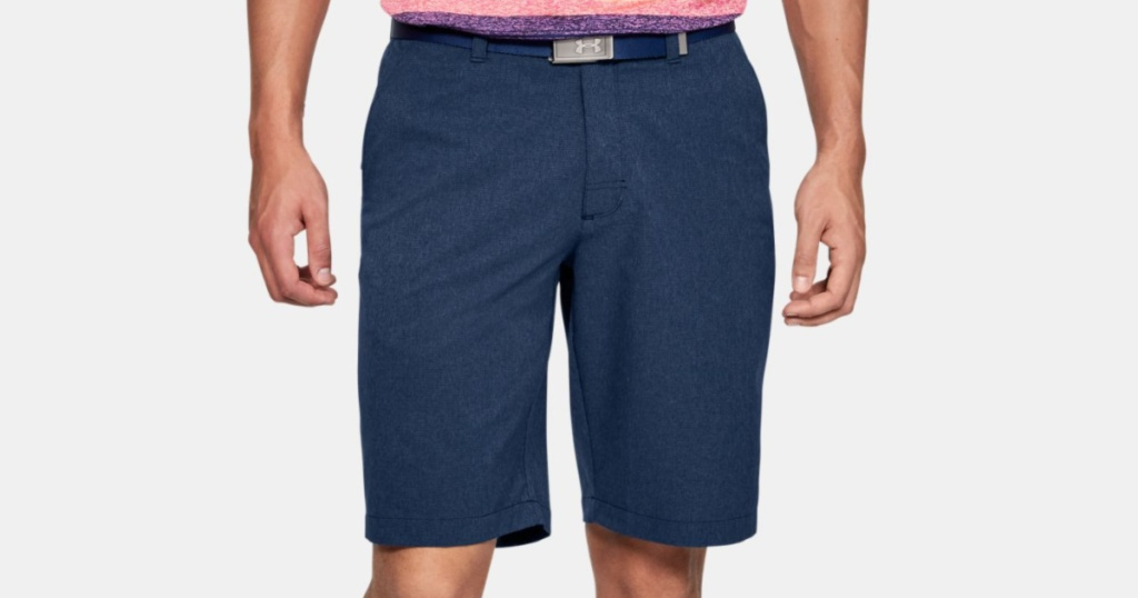 man wearing under armour shorts