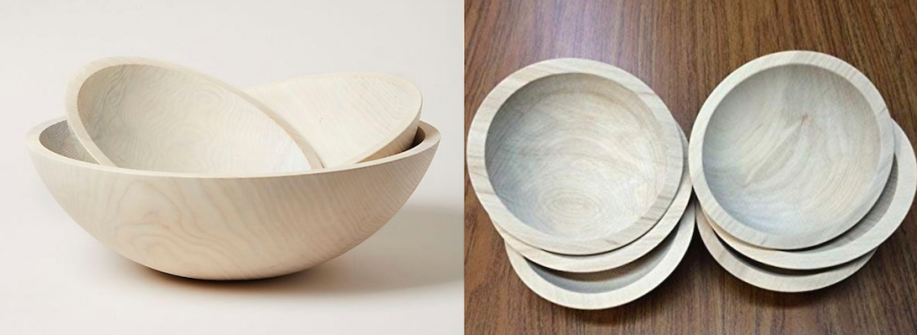 set of unfinished wooden pottery bowls