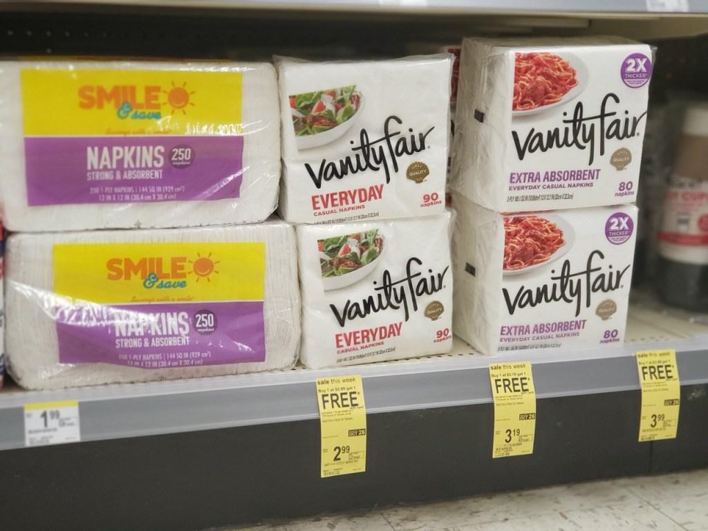 Vanity Fair Napkins on Walgreens shelf