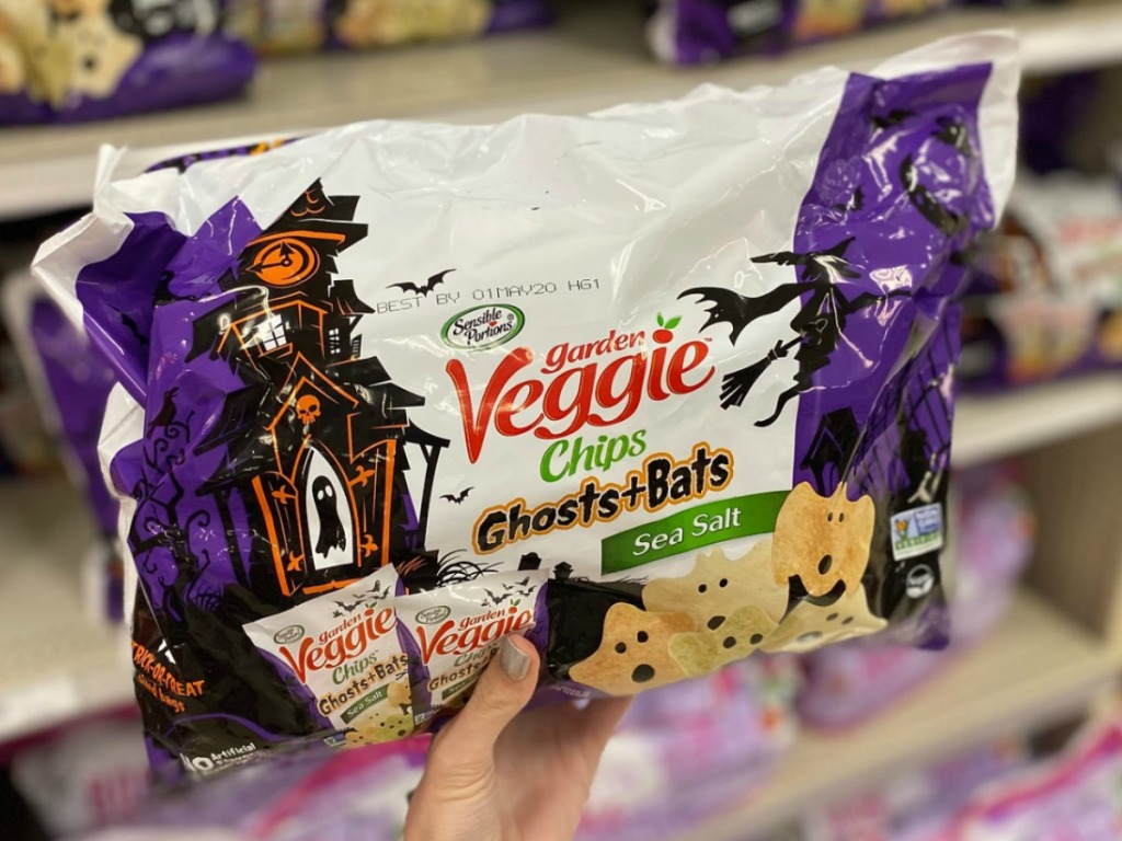 Veggie Chips Ghosts & Bats in package in hand in-store
