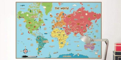 WallPops Kids Dry Erase World Map Decal Only $8 (Regularly $21)