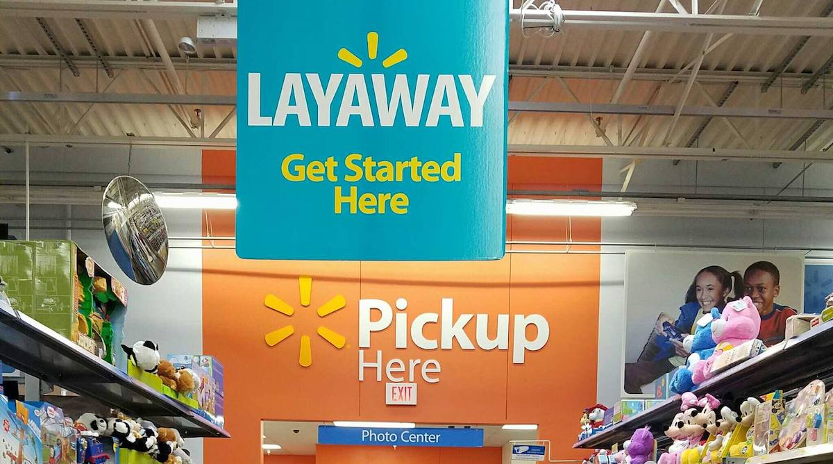 Walmart store with Layaway signs