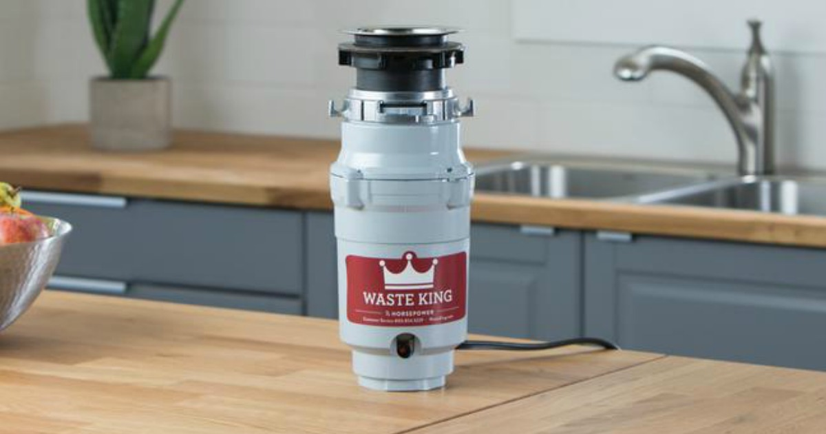 Garbage disposal system on counter in kitchen