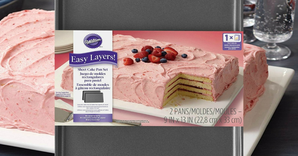 Wilton Easy Layers Cake Pans set with fully assembled iced cake