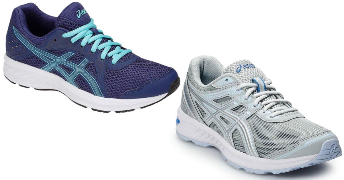 two pairs of asics running shoes
