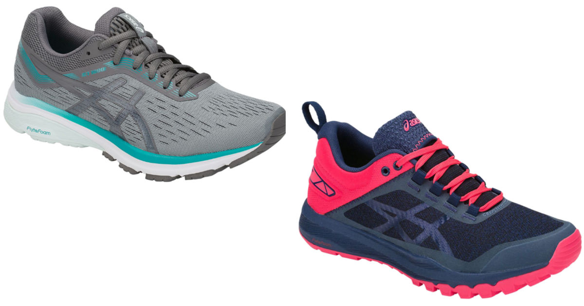 two pairs of asics running shoes in gray and blue