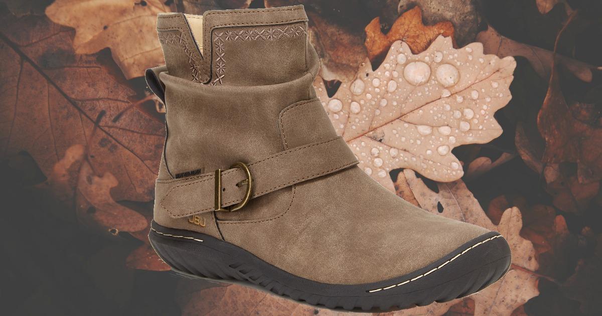 Women's Jambu Dottie Boots in front of leaves