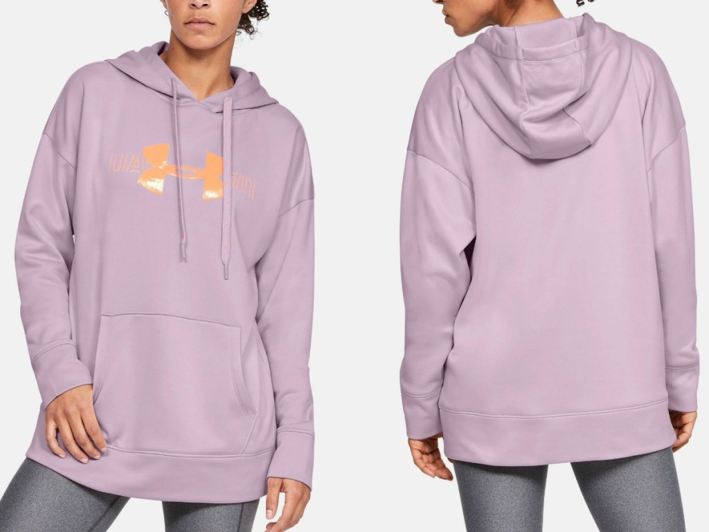 Woman wearing pink UA hoodie - front and back view