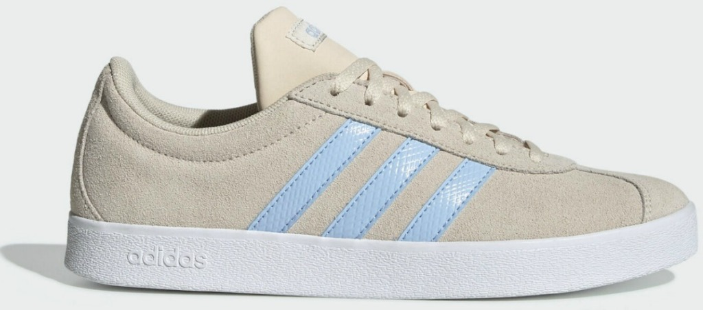 Women's adidas shoe in lined color with light blue stripes