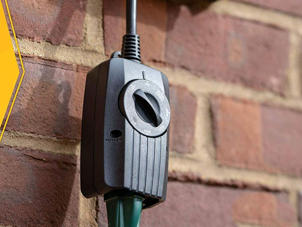 "Woods Outdoor 24 Hour Dusk until Dawn Outlet w/ Photocell Light Sensor, Grounded Outlet & 6"" Cord"