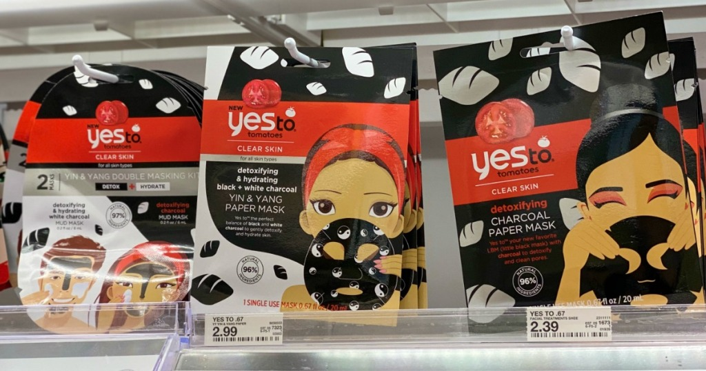 Yes to Tomatoes Face Masks on beauty shelf at Target