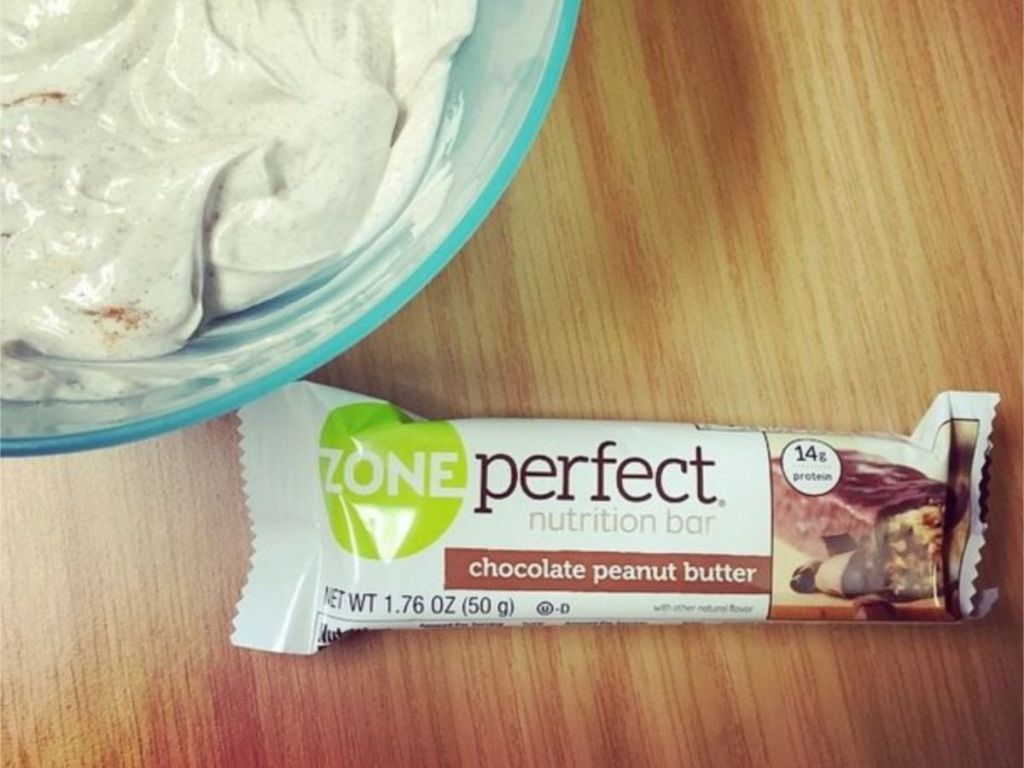 ZonePerfect Chocolate Peanut Butter with bowl of icing