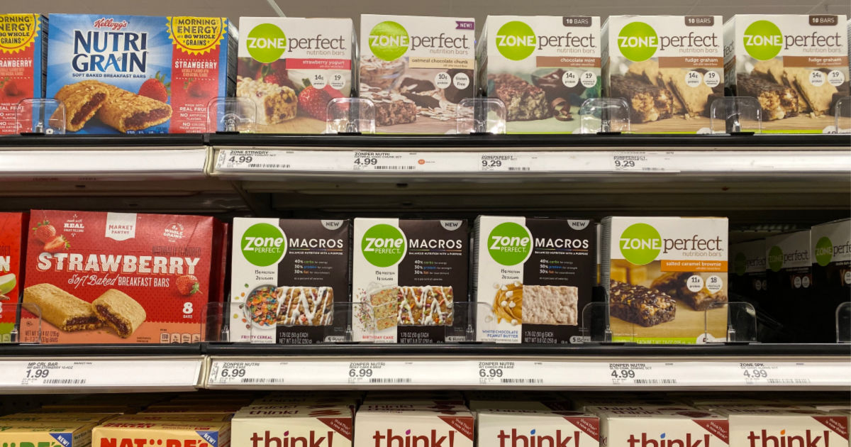 boxes of zoneperfect bars on shelf at target