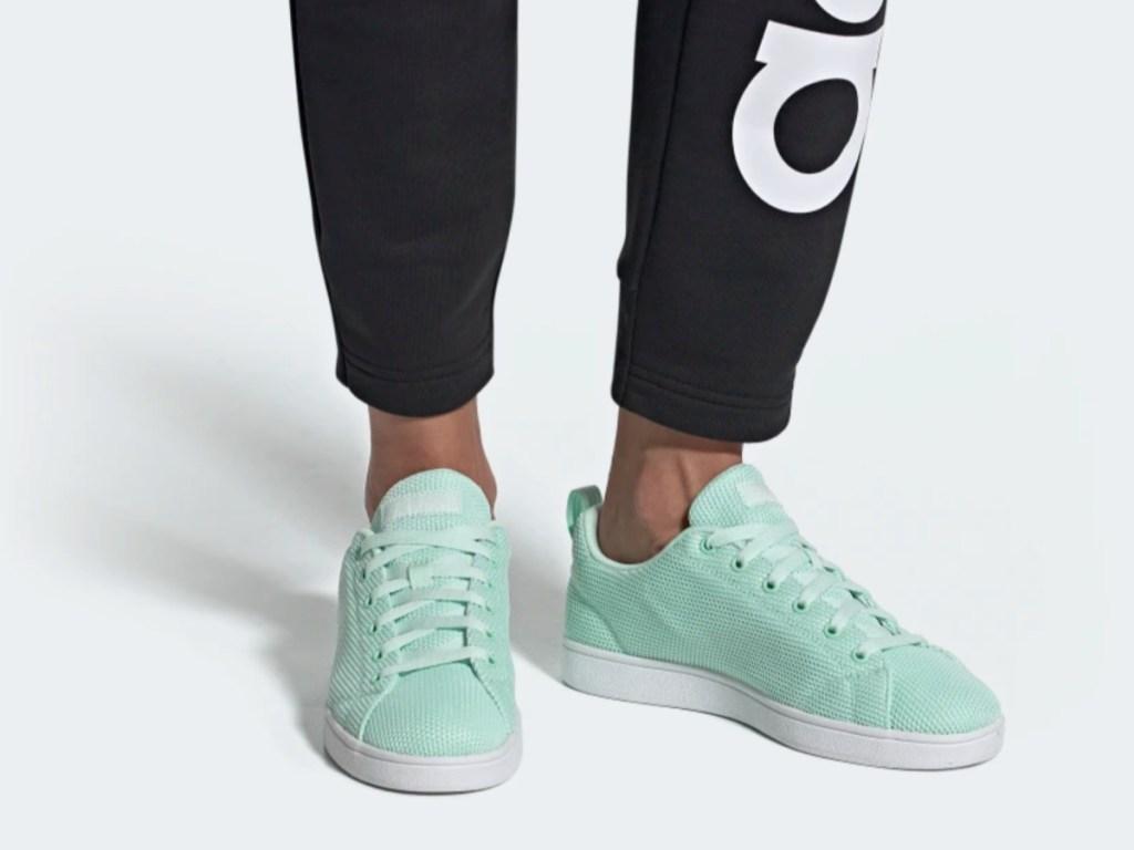 legs modeling mint green shoes