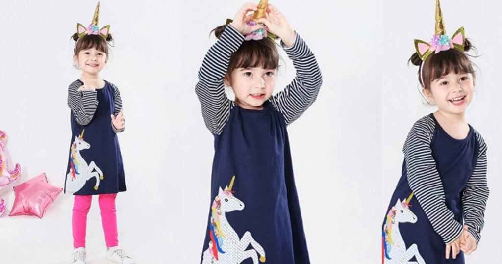 girl wearing dress with unicorn