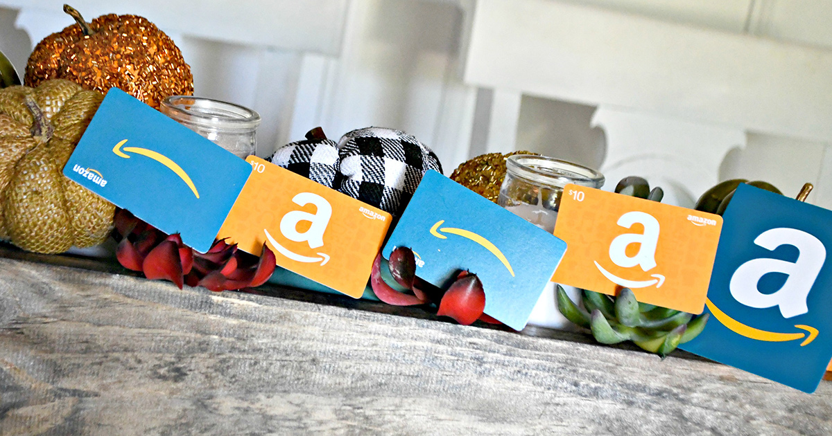 Amazon gift cards in a pumpkin centerpiece